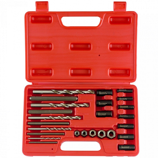 25 Pc Screw and Bolt Extractor-Drill & Guide Set