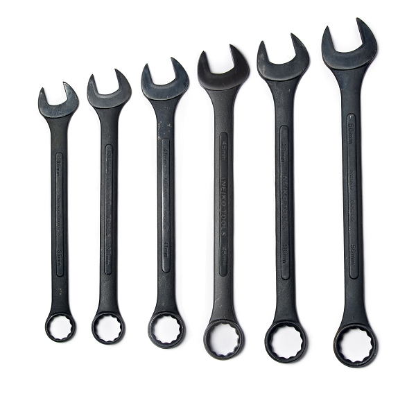 6 Piece Black Oxide Jumbo Wrench Set-Metric
