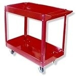 Red Steel Service Cart-2 Tray