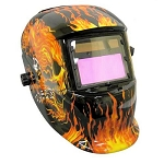 Auto Darkening Welding Helmet-Flaming Skull