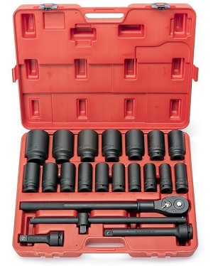 22pc 3/4 In. Drive SAE Deep Impact Socket Set