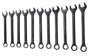 11 Pc Black Oxide Jumbo Wrench Set-Metric