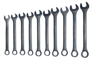 10 Pc Black Oxide Jumbo Wrench Set-SAE